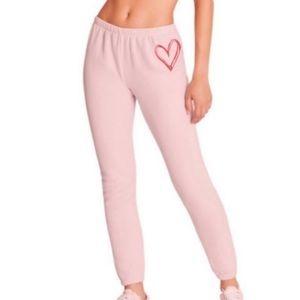 NEW WILDFOX sketchy heart pink sweatpants M